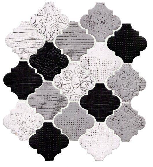 Rose Cameo Black & White Arabesque Lanterns Ceramic Mosaic Tile - TileBuys
