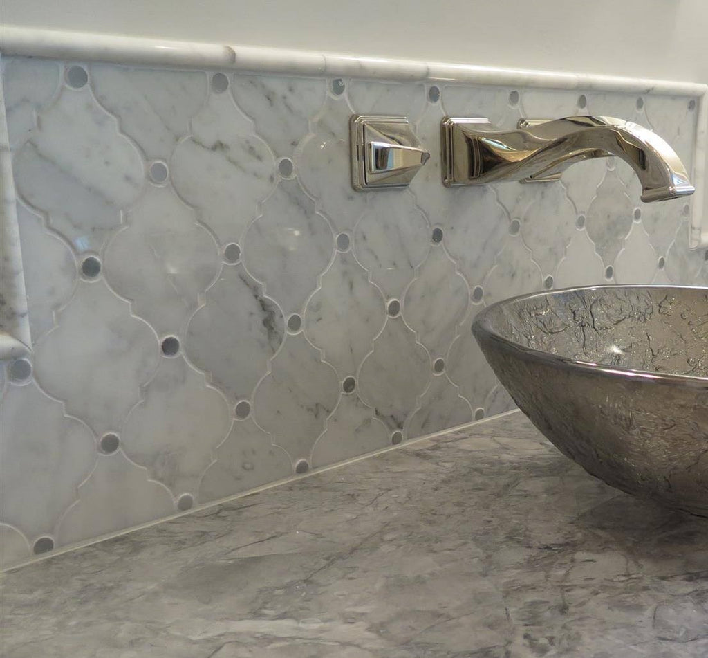 Carrara White Waterjet Mosaic Tile with Grey Marble Accent Dots in Safi Lanterns