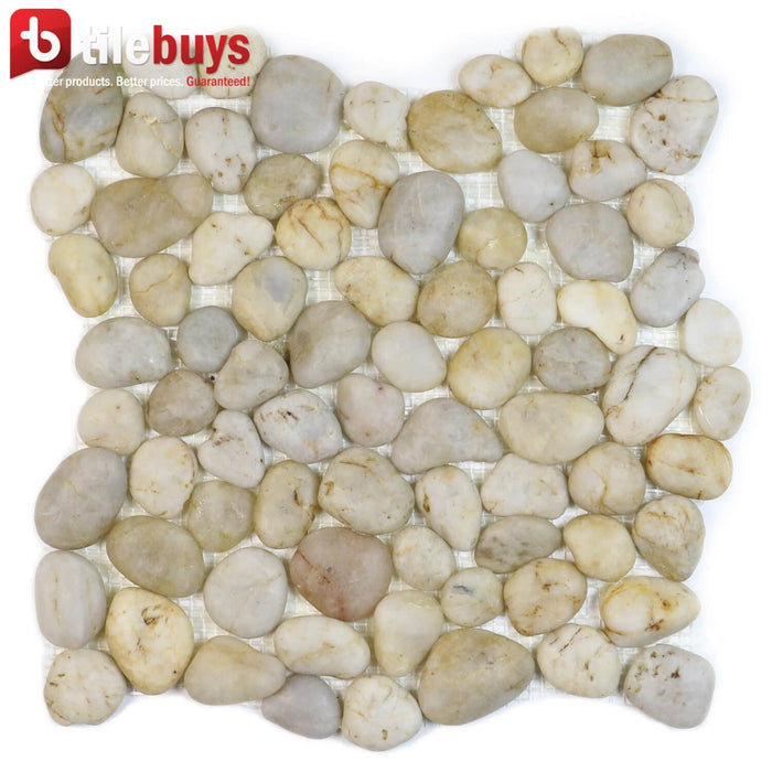 Silver Beige & Light Gray Flat Pebble Mosaic Tile for Bathroom Floors - TileBuys