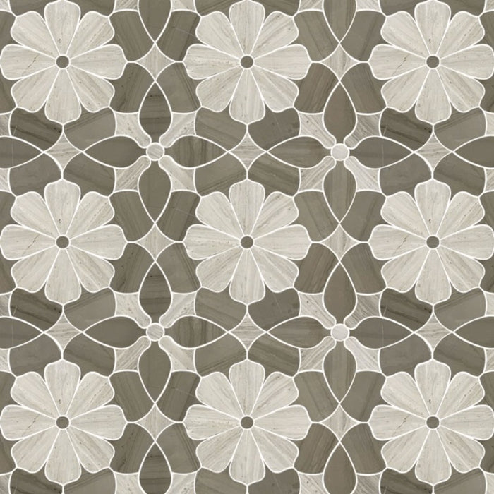 Silver Oak and Athens Grey Marble Waterjet Mosaic Tile in Daisy Blooms - TileBuys