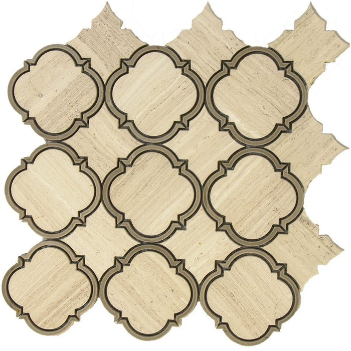 Silver Oak and Athens Grey Marble Waterjet Mosaic Tile in Moroccan Arabesque - TileBuys