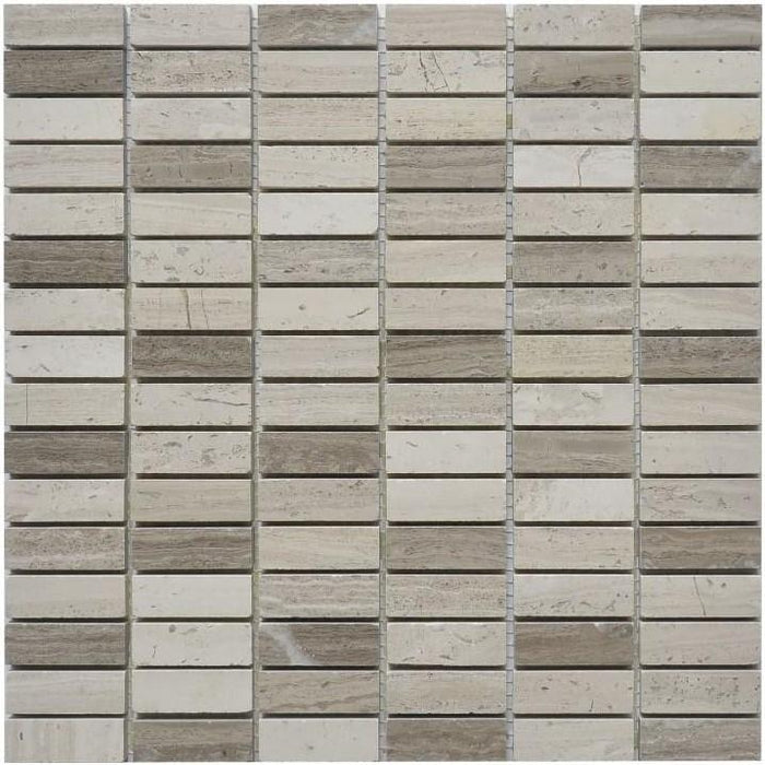 "Silver Oak Marble Mosaic Tile - 5/8x2"" Mini Bricks - Polished - TileBuys"