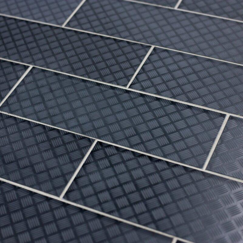 "Slip Resistant Glass 4x12"" Subway Tile in Carbon Grey - TileBuys"
