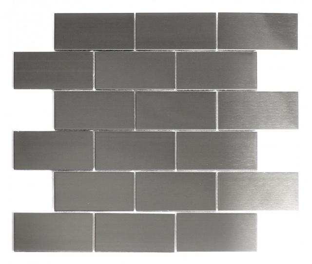 Smooth Silver Stainless Steel Subway Tile Backsplash - TileBuys
