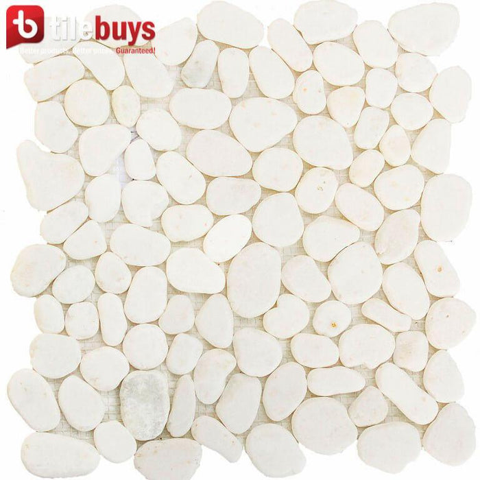 Snow White Marble Mosaic Tile - Flat Pebble Pattern for Bathroom Floors - TileBuys