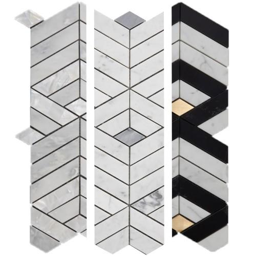 Stacked 3D Chevron Columns Marble Mosaic Tile in 3 Color Combinations - TileBuys