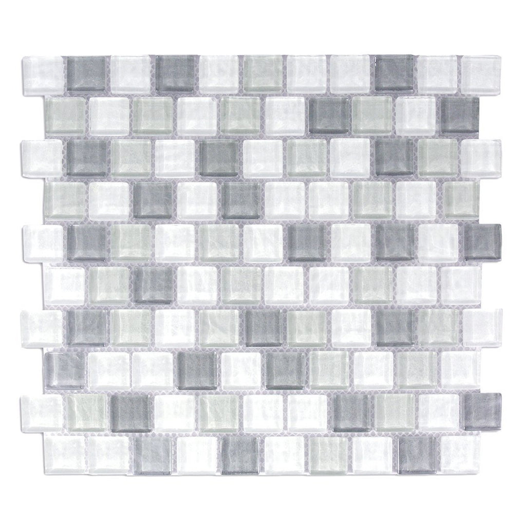 "Textured Glass 1x1"" Squares Mosaic Wall Tile - Gray & White - TileBuys"