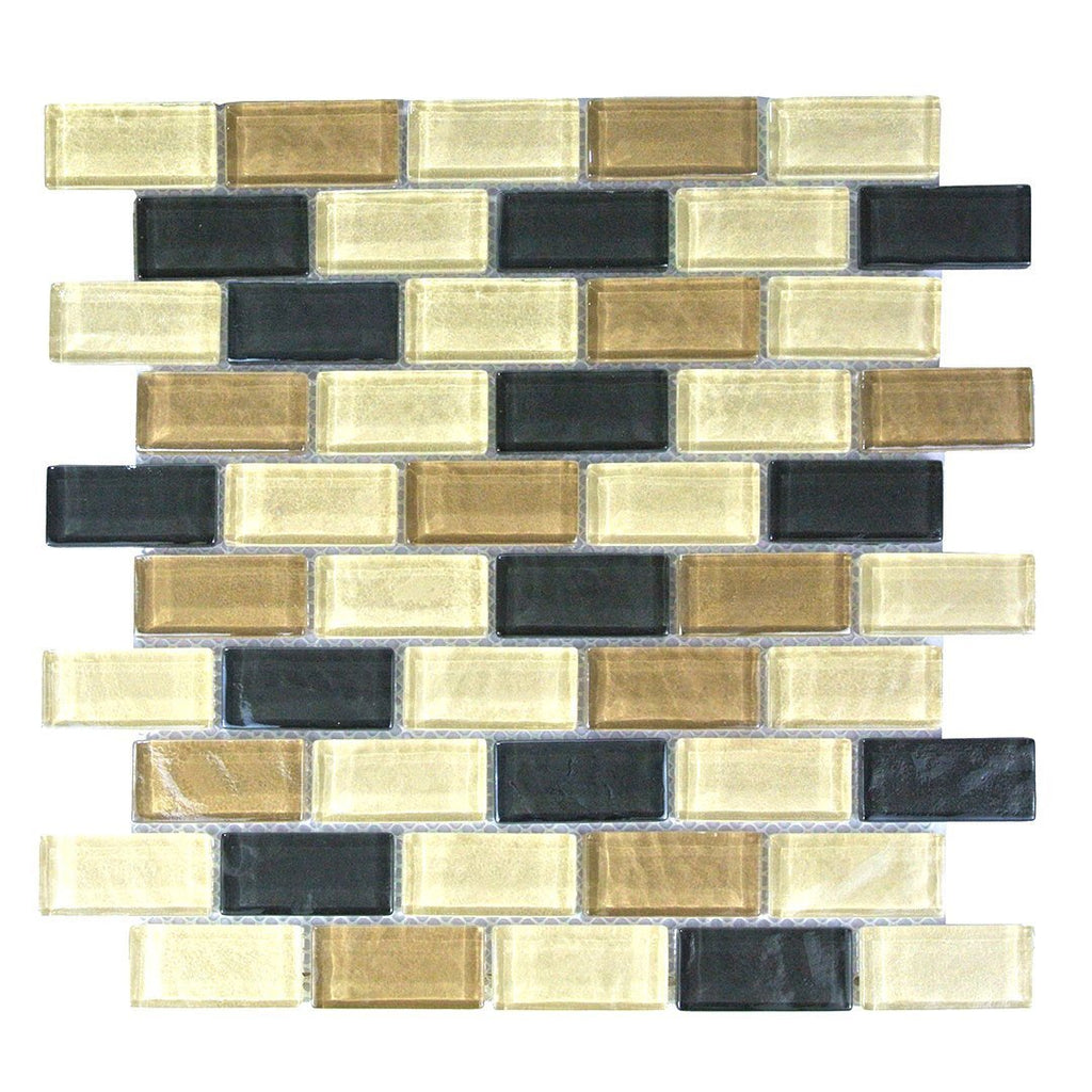 "Textured Glass 1x2"" Brick Mosaic Wall Tile - Beige, Tan & Dark Brown - TileBuys"