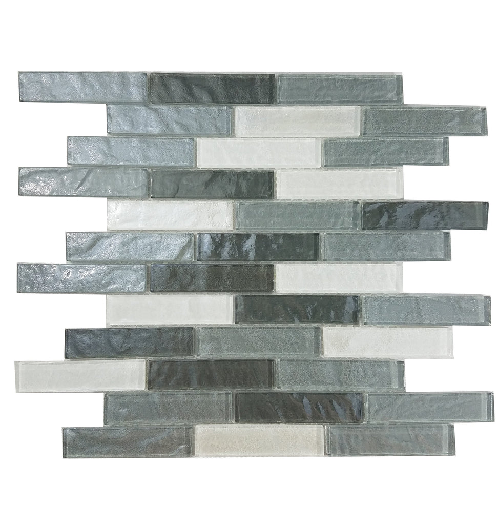 "Textured Glass 1x4"" Linear Strip Mosaic Wall Tile - Gray & Off-White - TileBuys"