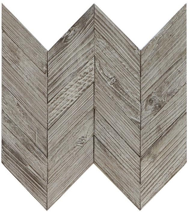 Weathered Gray Reclaimed Teak Wood Mosaic Wall Tile - Chevron Pattern - TileBuys