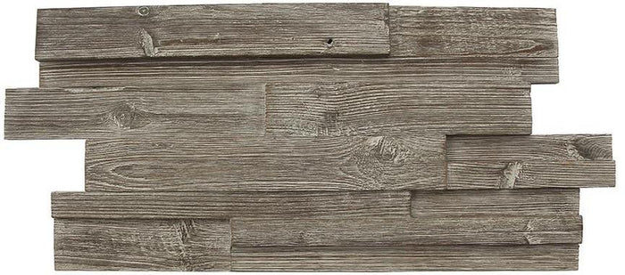 Weathered Gray Reclaimed Teak Wood Mosaic Wall Tile - Random Strip Barn Wood Panel Mosaic - TileBuys