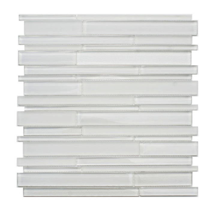 White Artisan Glass Simple Strip Mosaic Tile in Vail - TileBuys