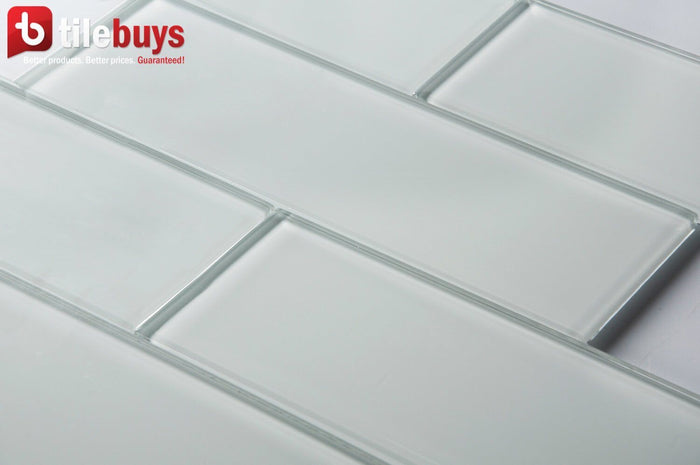 "White Block Glass 4x12"" Subway Tile in Ice - TileBuys"