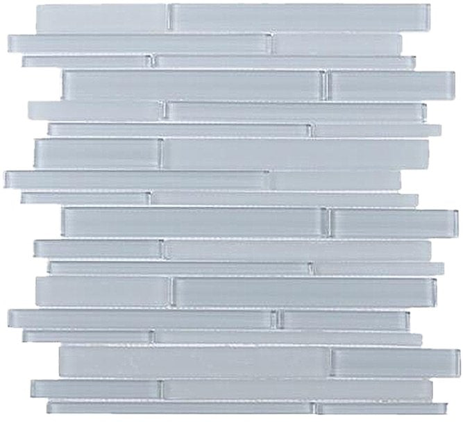 White Block Glass Random Linear Strip Mosaic Tile in Ice - TileBuys