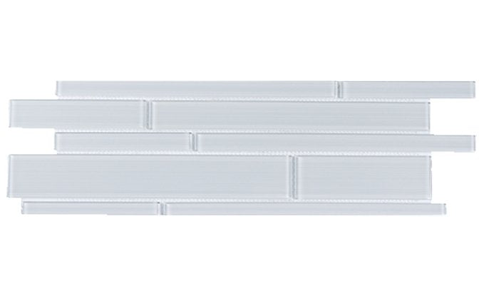 White Glass Strip Mosaic Tile - TileBuys