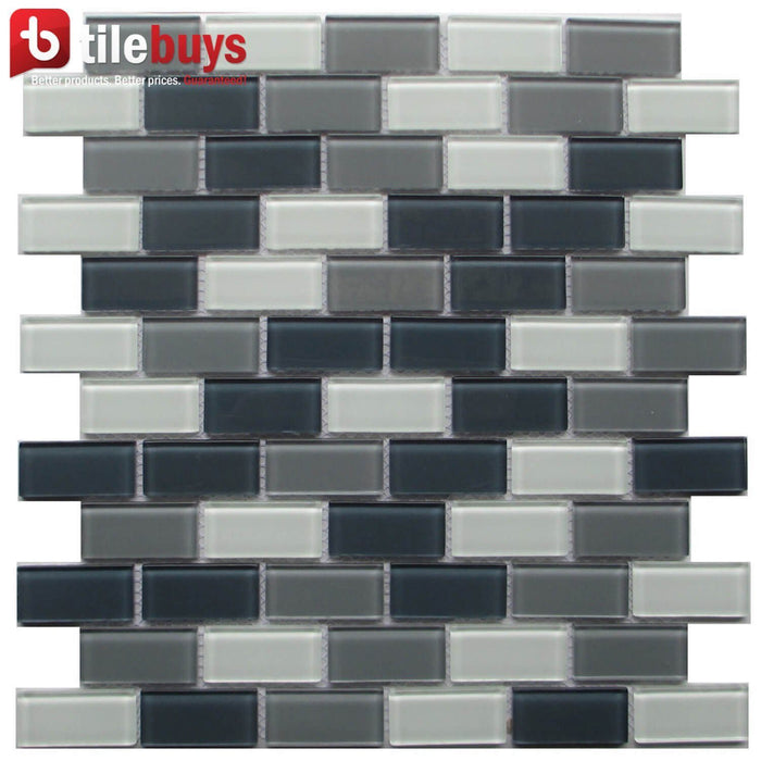 White & Gray Glass Mini Brick Mosaic Wall Tile - TileBuys