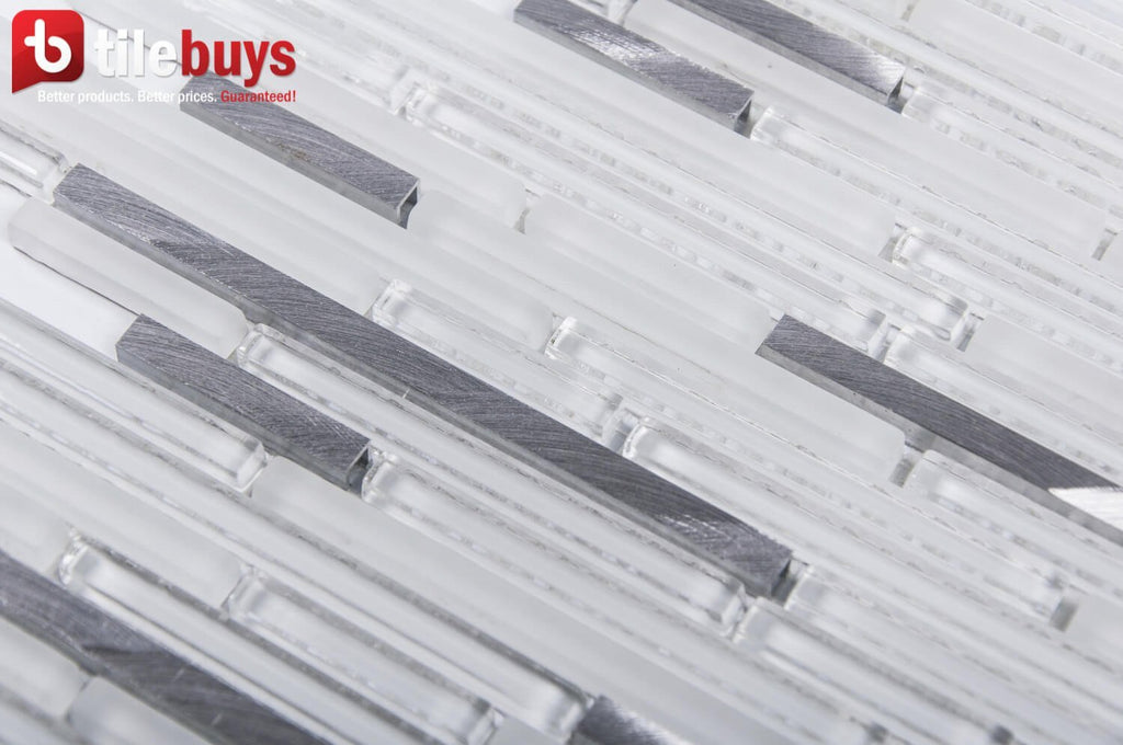 White & Ice Blue Glass Thin Linear Strip Mosaic Wall Tile - TileBuys