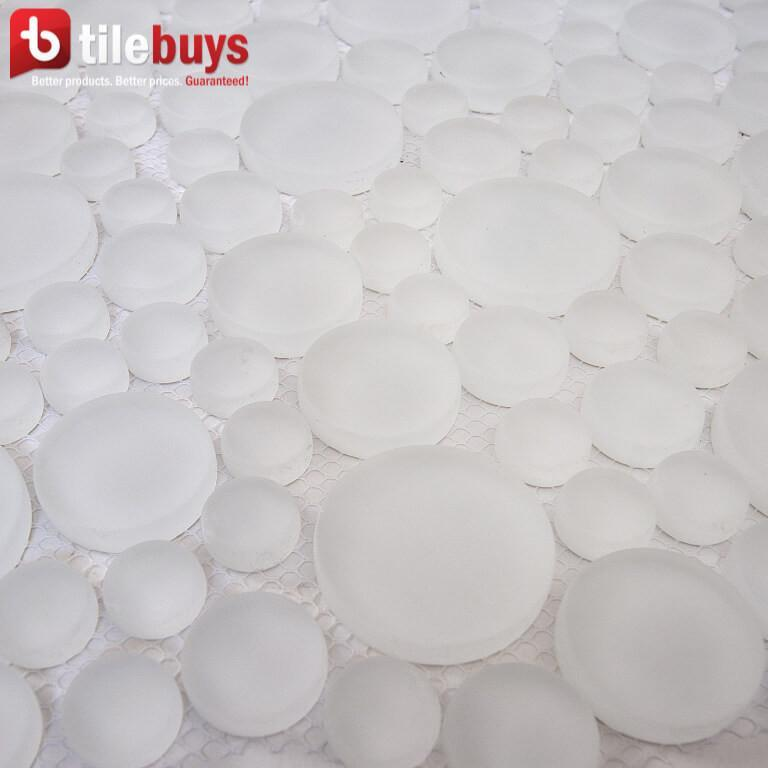White Ice Glass Mosaic Penny Circle Round Tile - TileBuys
