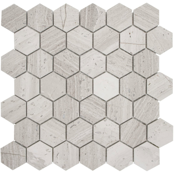 "White Oak Marble Mosaic Tile - 2"" Hexagons - Honed - TileBuys"