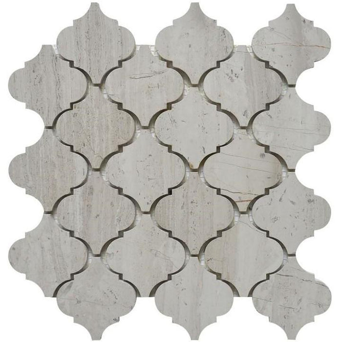 "White Oak Marble Mosaic Tile - 3"" Arabesque Lanterns - Polished - TileBuys"