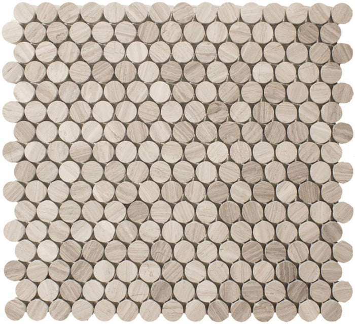 "White Oak Marble Mosaic Tile - 3/4"" Penny Rounds - Honed - TileBuys"