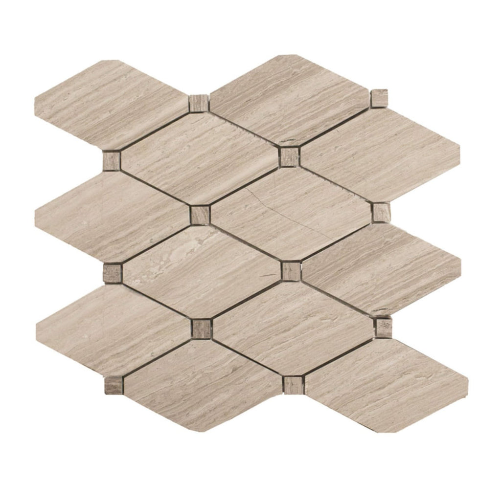 "White Oak Marble Mosaic Tile - 5"" Beige Diamonds - Honed - TileBuys"