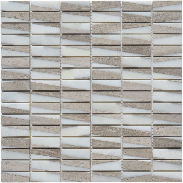 "White Oak Marble Mosaic Tile - 5/8x2"" Mini Bricks - Polished - TileBuys"