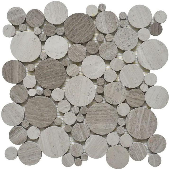 White Oak Marble Mosaic Tile in Bubble Rounds - TileBuys