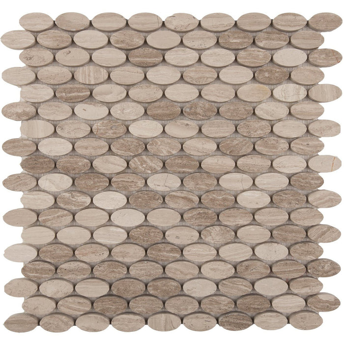 White Oak Marble Mosaic Tile - Stretched Oval Penny Rounds - Honed - TileBuys