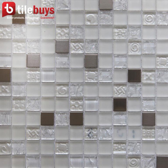 "White Stone, Clear Textured Glass & Bronze Metal 1x1"" Square Mosaic Wall Tile - TileBuys"