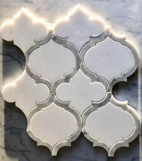 White Thassos and Bianco Carrara Marble Waterjet Mosaic Tile in Arabesque Marrakech - TileBuys
