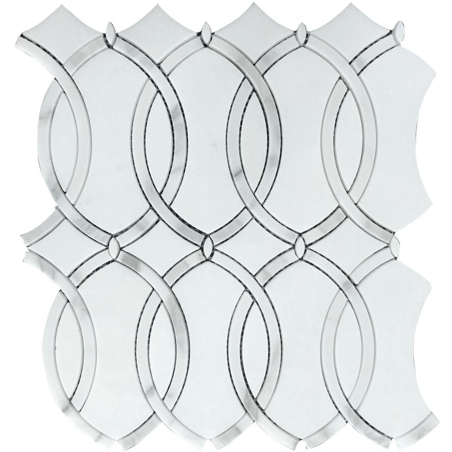 White Thassos and Bianco Carrara Marble Waterjet Mosaic Tile in Interlocking Ovals - TileBuys