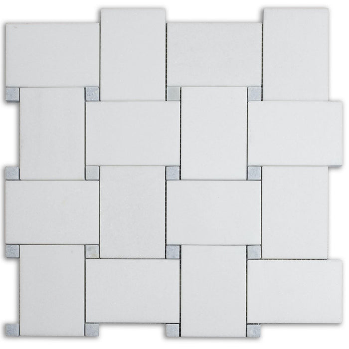 White Thassos and Blue Celeste Marble Mosaic Tile in Bold Basketweave - TileBuys