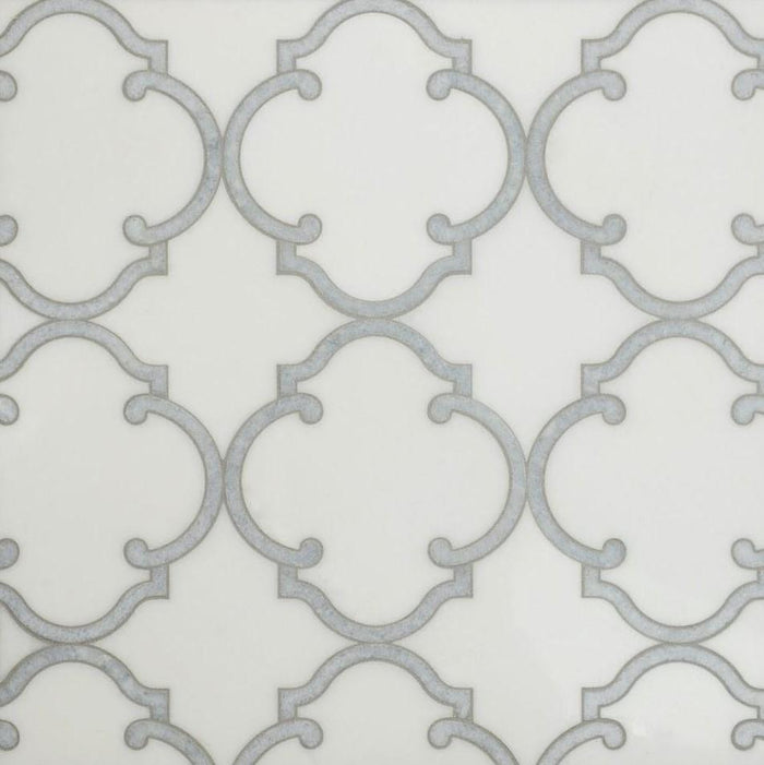 White Thassos and Blue Celeste Marble Waterjet Mosaic Tile in Moroccan Marrakesh - TileBuys