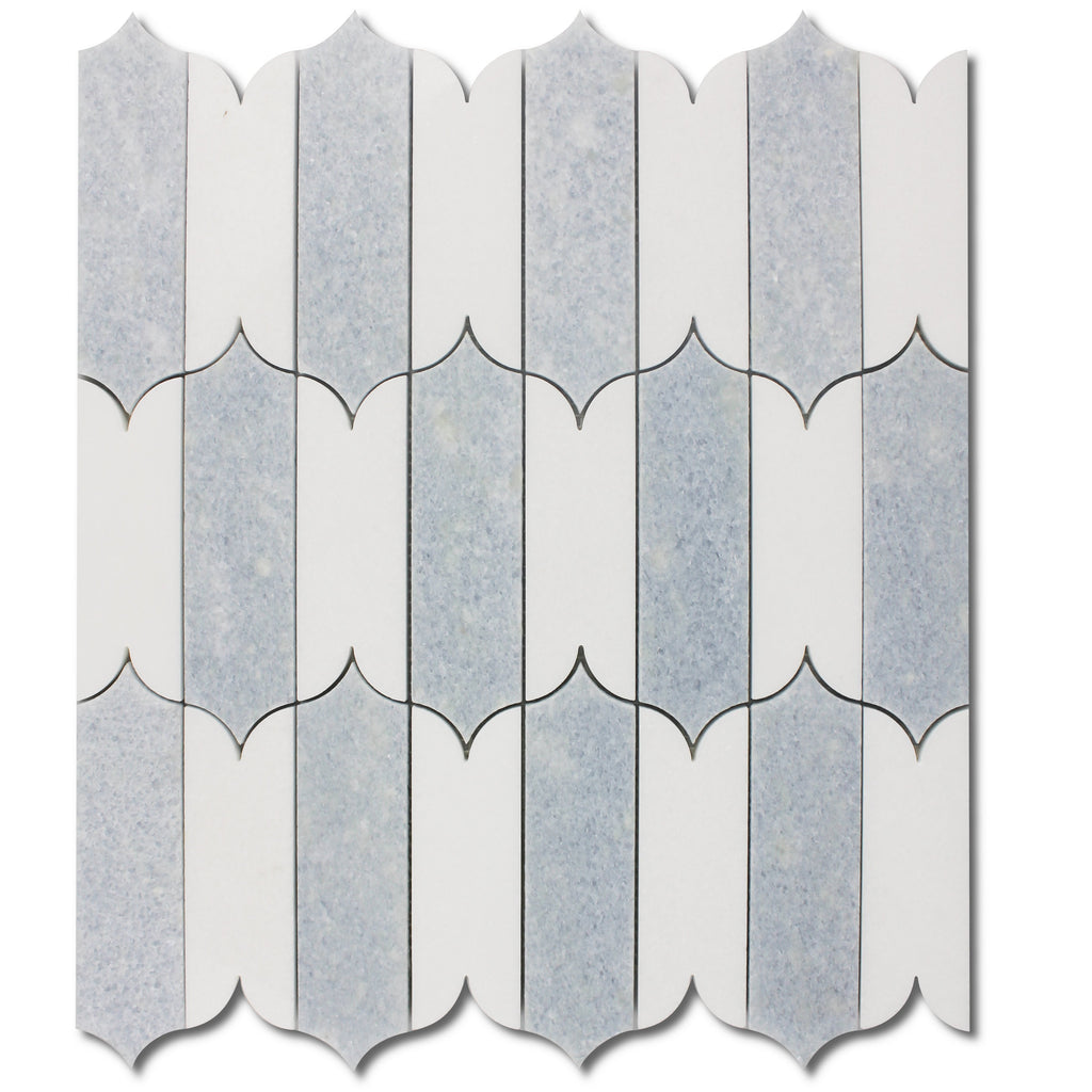White Thassos and Blue Celeste Marble Waterjet Mosaic Tile in Prima Brackets - TileBuys