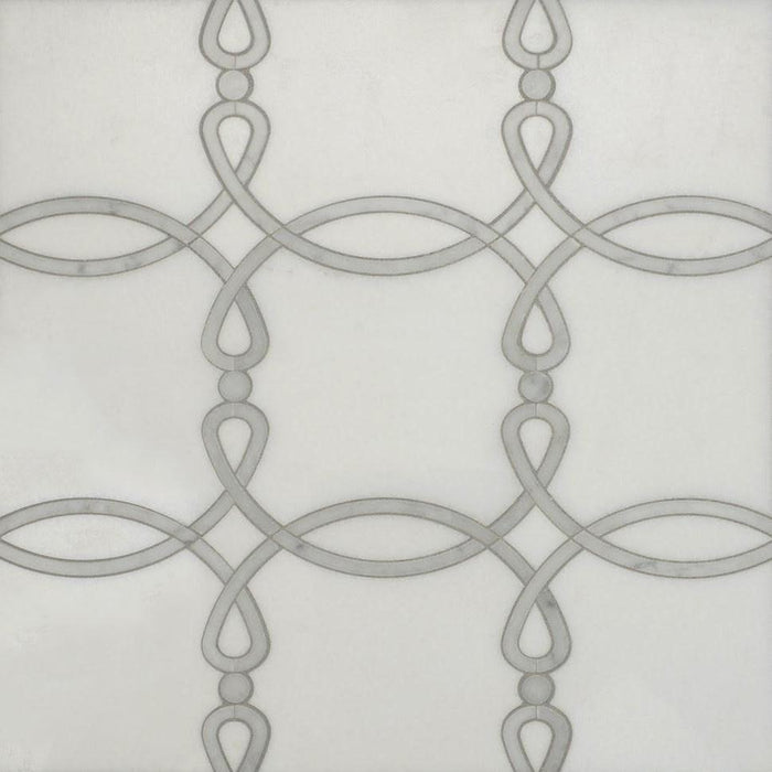 White Thassos and Carrara Marble Waterjet Mosaic Tile in Eternal Rings - TileBuys