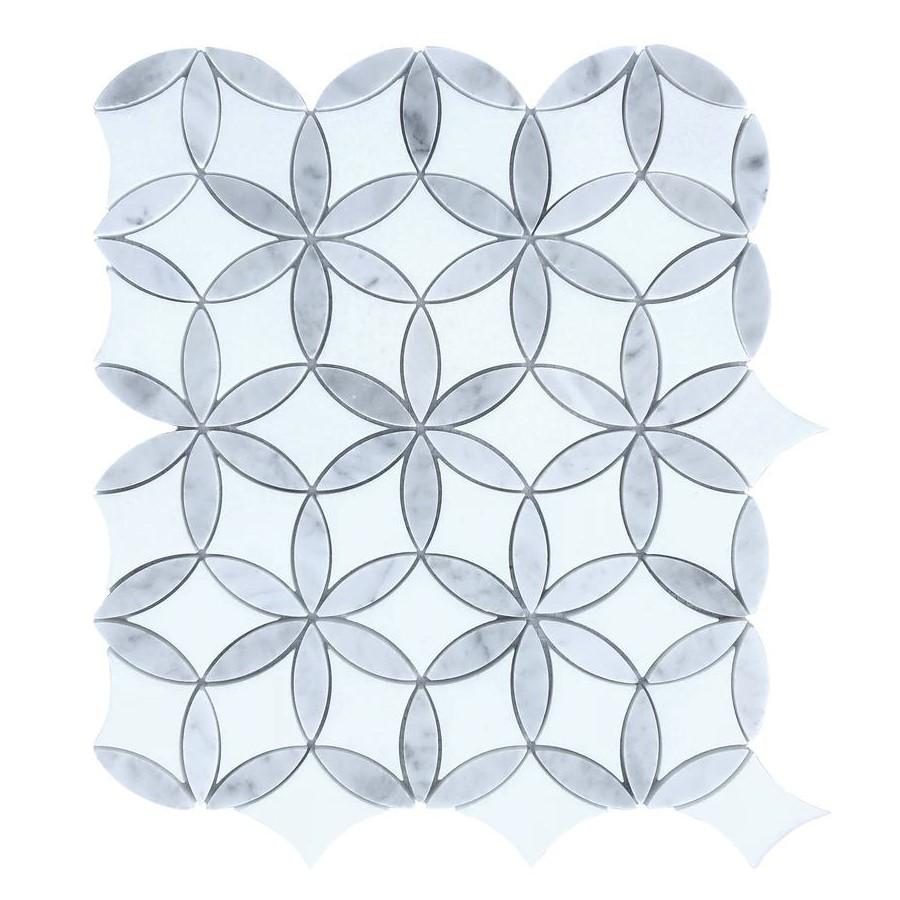 White Thassos and Carrara White Marble Waterjet Mosaic Tile in Floral Rings - TileBuys