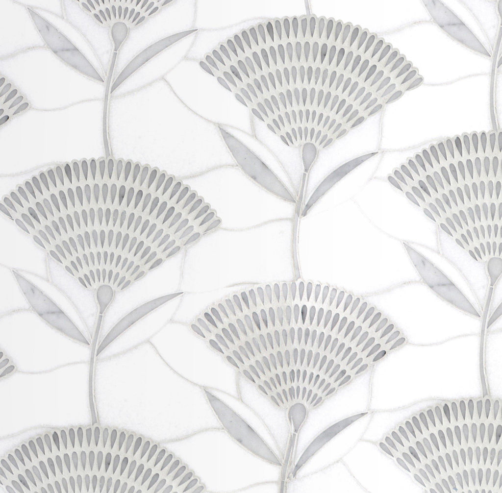 White Thassos and Carrara White Marble Waterjet Mosaic Tile in Prima Flowers - TileBuys