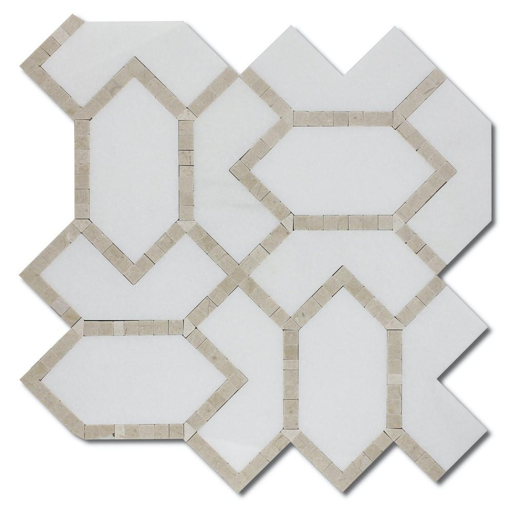 White Thassos and Crema Marfil Marble Waterjet Mosaic Tile in Geometric Gems - TileBuys