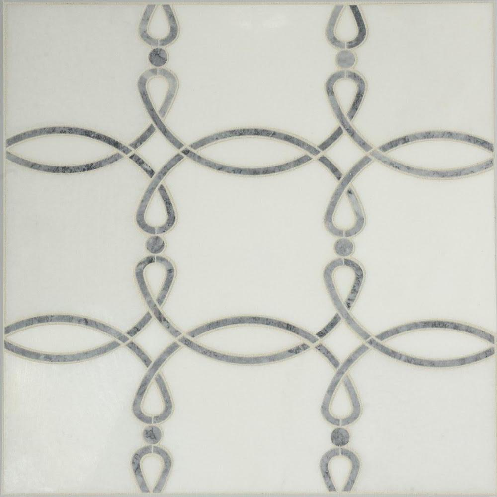 White Thassos and Green Marble Waterjet Mosaic Tile in Eternal Rings - TileBuys