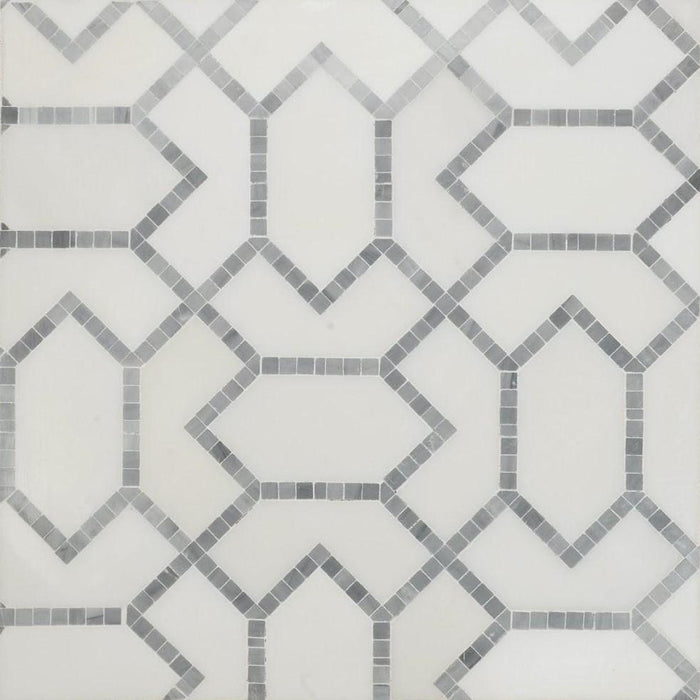 White Thassos and Grey Marble Waterjet Mosaic Tile in Geometric Gems - TileBuys