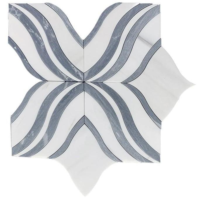 White Thassos and Palissandro Blue Marble Waterjet Mosaic Tile in Blue Ribbons - TileBuys