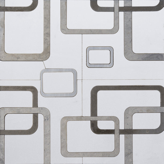 White Thassos and Tunisian Grey Marble Waterjet Mosaic Tile in Interlocking Rectangles - TileBuys