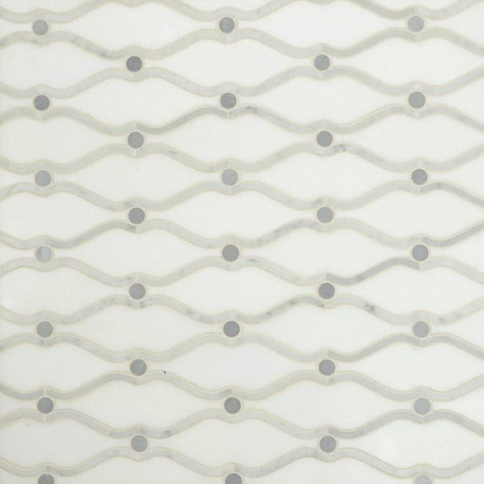 White Thassos, Carrara White, and Grey Marble Waterjet Mosaic Tile in Carrara Waves - TileBuys