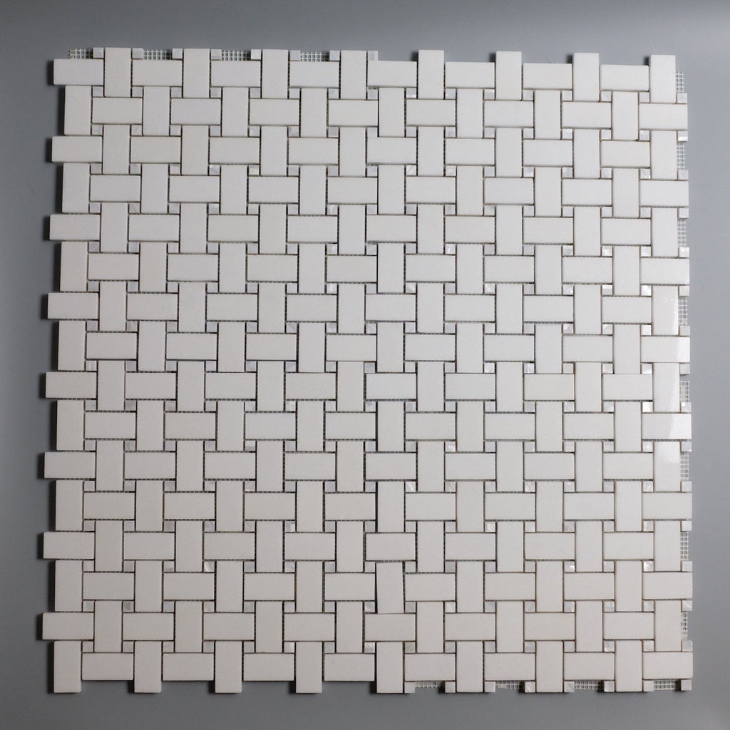 White Thassos Marble and Mother Of Pearl Mosaic Tile in Basketweave - TileBuys