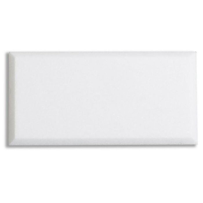"White Thassos Marble Field Tile - 3x6"" Beveled Subway Tile - TileBuys"