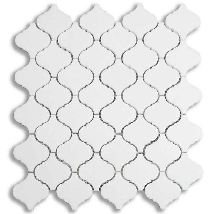 "White Thassos Marble Mosaic Tile in 2"" Arabesque Lanterns - TileBuys"