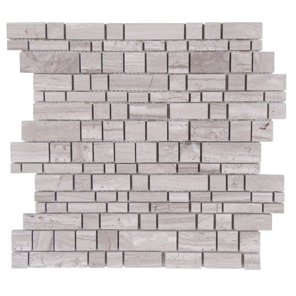 Wooden Marble Mosaic Tile in Stacked Block - Honed - TileBuys