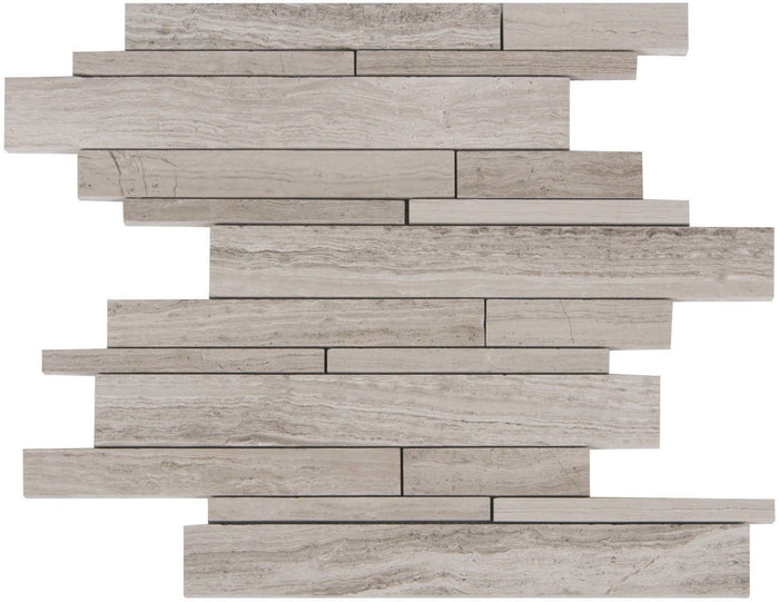 Wooden Marble Mosaic Tile - Random Linear Strips - Honed - TileBuys