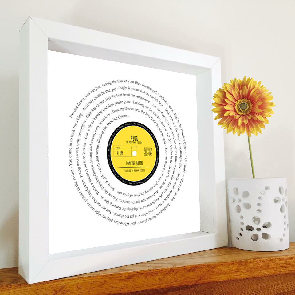 Abba - Dancing Queen Vinyl Record lyrics framed print PERSONALISED ...